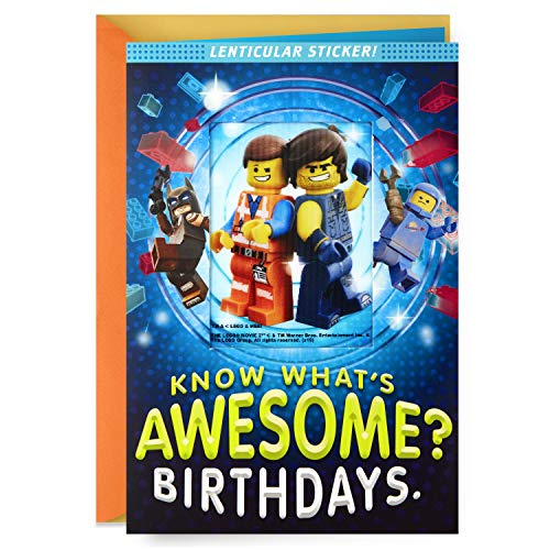 Hallmark Lego Birthday Card with Lenticular Sticker (Awesome)