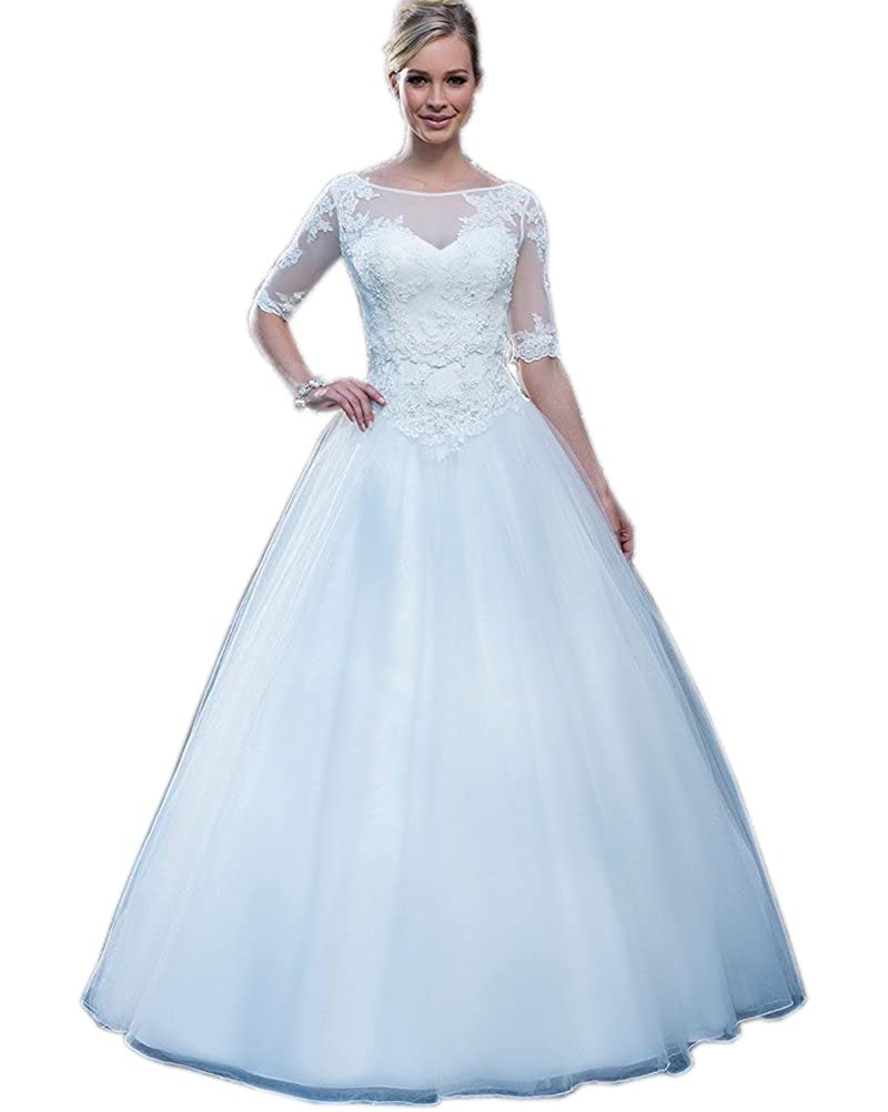 Kimbridal Womens Vintage Lace Wedding Dresses With Half Sleeves