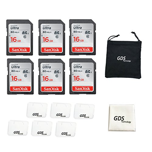 16 Gb Sdhc Card - 6x Genuine SanDisk Ultra 16GB Class 10 SDHC Flash Memory Card Up To 80MB/s Memory Card (SDSDUNC-016G-GN6IN) with slim memory card case (6pcs)