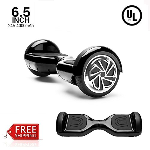 Self Balancing Scooter Hoverboard UL2272 Certified Smart Electric Scooter 2 Wheels with LED Lights (BLACK)