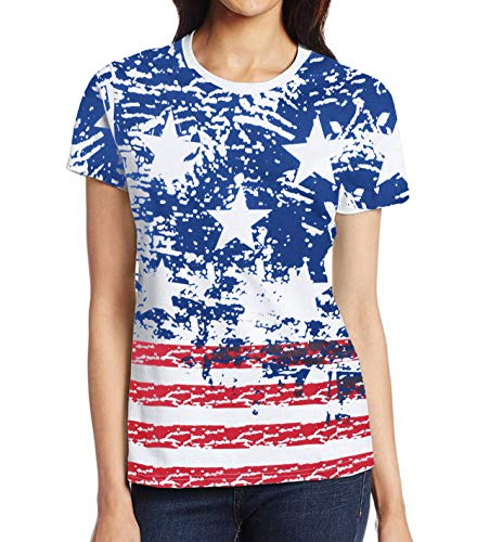 Miracle(Tm) USA Tie Dye Shirt Women - Adult Pigment Hippie American Flag Tee Shirt (L)