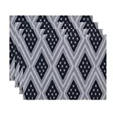 E By Design Ikat Diamond Dot Geometric Print Placement, 18'' by 14'', Steel Gray