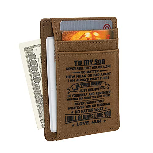 Men Wallet | Mum to Son Gift | Mother Son Birthday Christmas ID Card Walet