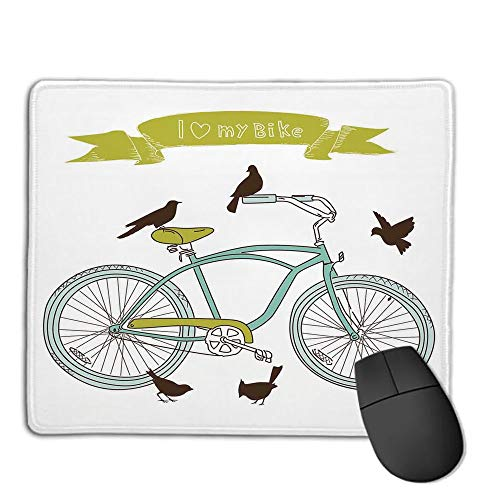 (Premium Mouse Pad with Waterproof, Non Slip & Elegant Stitched Edges,Bicycle,I Love My Bike Concept with Birds on The Seat Cruisers Basic Vehicle Simplistic Art,Green Blue,Consoles More Enjoy Preci)