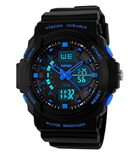 Auspicious beginning Durable outdoor series waterproof multi-functional dual time LED sports watch, blue