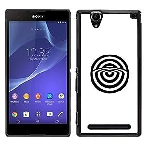 "For Sony Xperia T2 Ultra Case , Minimalista Bulls Eye blanca abstracta"" - Diseño Patrón Teléfono Caso Cubierta Case Bumper Duro Protección Case Cover Funda"