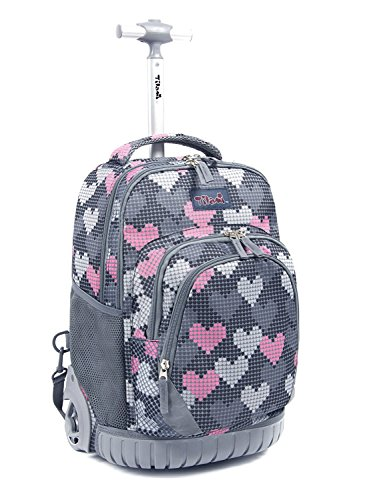 Tilami Rolling Backpack Armor Luggage School Travel Book Laptop 18 Inch Multifunction Wheeled Backpack for Kids and Students (Falling Love 1) by Tilami