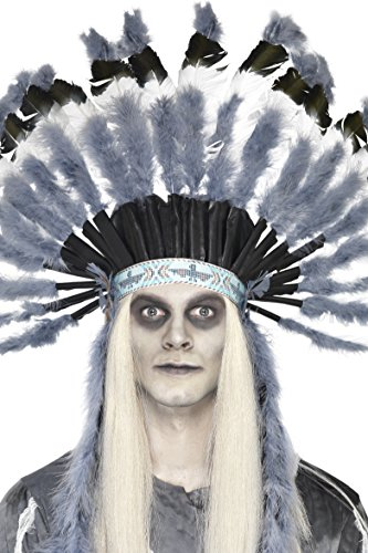 Pow Wow Man Indian Costumes (Smiffy's Men's Ghost Town Indian Headdress, Grey & Black, One Size, 25482)