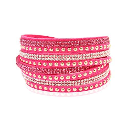 RIAH FASHION Bohemian Faux Suede Leather Wrap Multi Layer Bracelet - Boho Wrist Adjustable Cuff Bangle Crystal Rhinestone/Bead Embellishment (Stud Mix - Hot Pink)