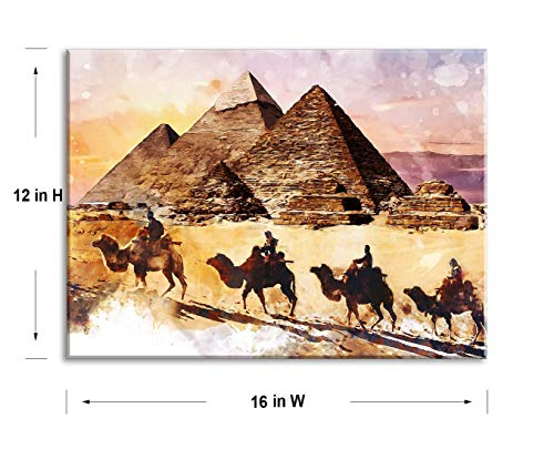 Stretched Canvas Art of Waterproof Yellow Decor, Wood Inside Framed Wall Art of Egyptian Islamic Wall Decor, Dining Room Decor with Original Inspirational Desert Vintage Wall Art Work (12x16)