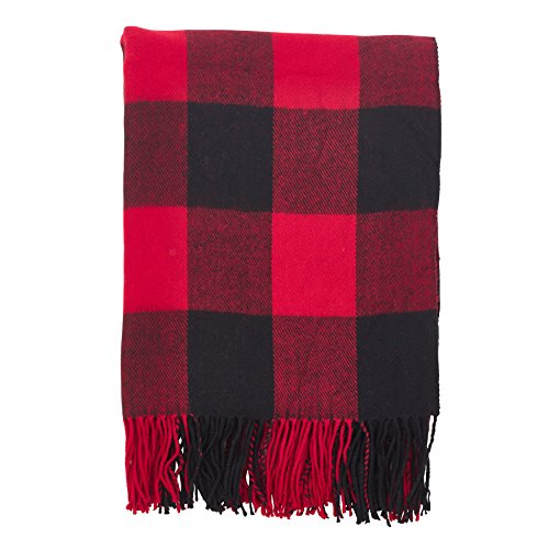 SARO LIFESTYLE Buffalo Plaid Check Tassel Throw Blanket, 50