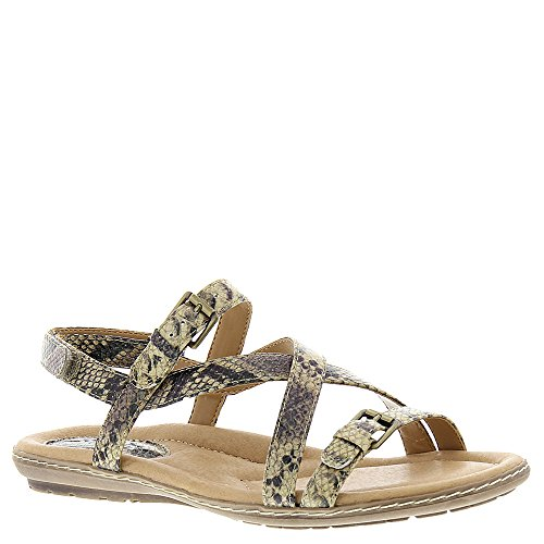 Sandy Brown Leather (Earth Women's Sandy Strappy Sandal,Brown Snake Print Leather,US 8.5 M)
