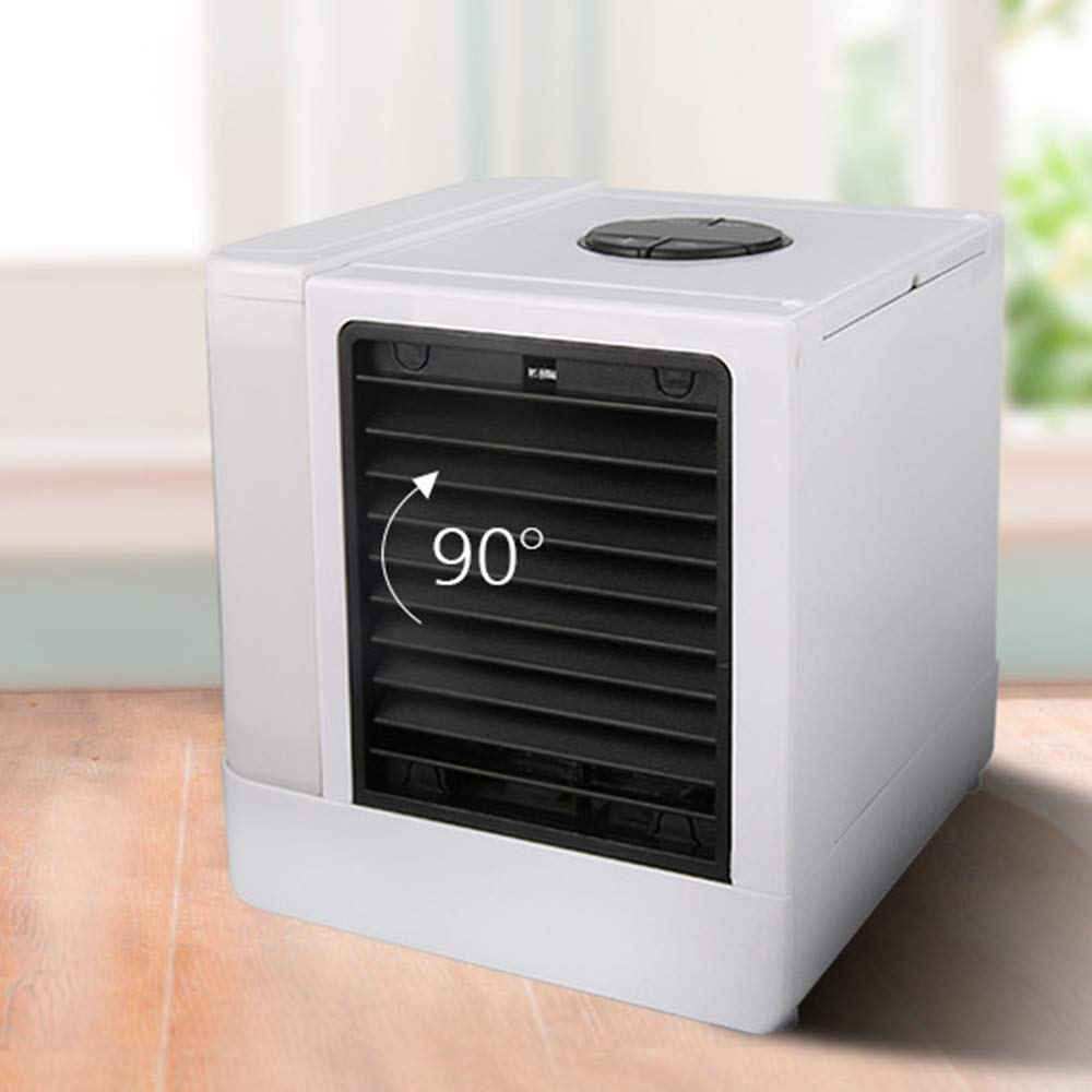 JIANword LCD Digital Display Mini Air Cooler 5 Block Refrigeration Humidification Fan USB Portable Office Air Cooler with LED Lights