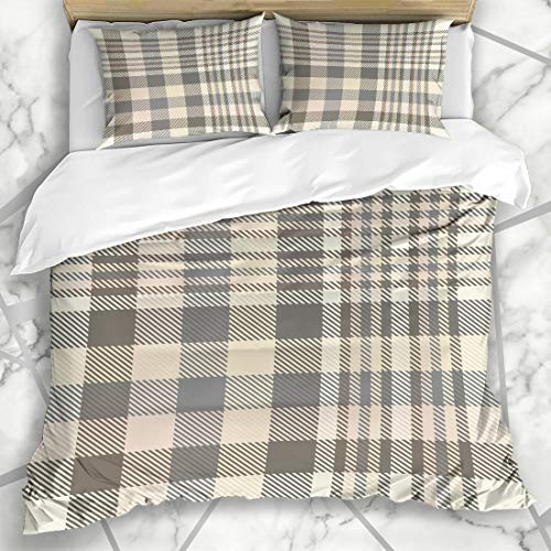 Ahawoso Duvet Cover Sets King 90x104 Picnic Tan Border Tartan Plaid Pattern Shades Cream Brown Beige Check Checker Chequer Faded Flannel Microfiber Bedding with 2 Pillow Shams