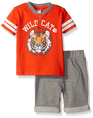 Petit Lem Baby Boys' 2 Piece Set Sleeve Top and Short-Orange, 6 Months ()