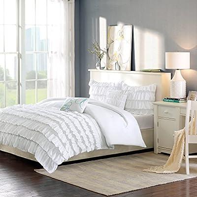 Intelligent Design ID10-020 Waterfall Comforter Set White - Set includes: 1 comforter, 2 standard shams, 2 decorative pillows Cover: 100Percent polyester filling: 100Percent polyester Measurements: 90-by-90-inch comforter, 20-by-26-inch standard shams, 12-by-18-inch Oblong pillow, 16-by-16-inch square pillow - comforter-sets, bedroom-sheets-comforters, bedroom - 51jo9rAzWUL. SS400  -