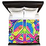 King Duvet Cover Neon Smiley Face Floral Peace Symbol
