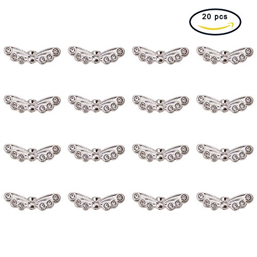 PandaHall Elite 20Pcs Brass Wing Multi-Strand Links Charms Pendants Beads for Jewelry Making Silver Size (Bead Double Strand Necklace)