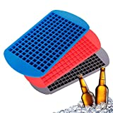 VONOTO 3-Pack Approved Food Grad Silicone 160 Mini Ice Cube Trays and Candy Grids Small Ice Maker Tiny Ice Cube Trays Chocolate Mold Mould Maker Molds (Red + Blue + Black)