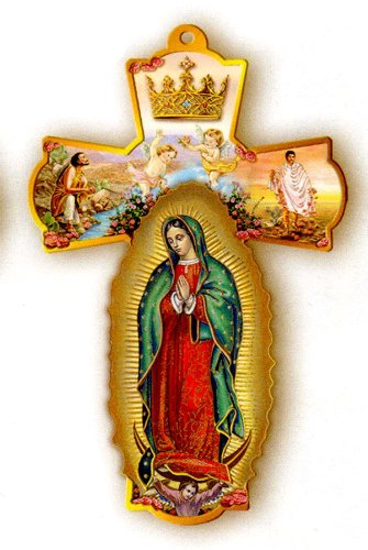 Wooden Wall Cross Guadalupe 8 25in product image