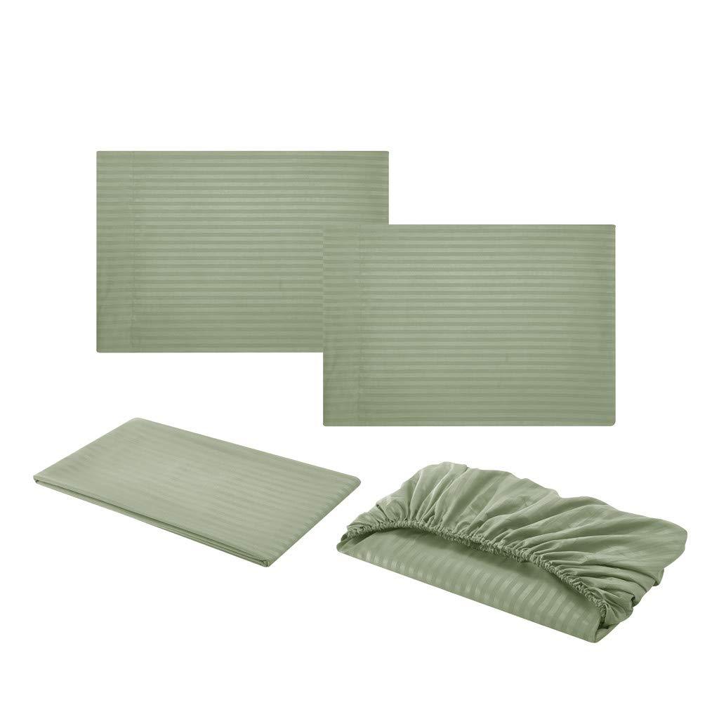 Vert, S Xmiral Parure de lit des Satin Imitation Plain Colour Home draps de Confort /égyptien 4 Morceaux Ensemble Textiles