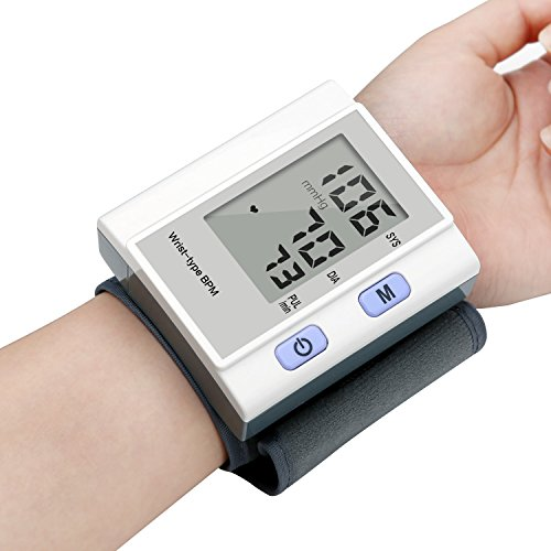 Automatic Blood Pressure Monitor Cuff Gauge, YEVITA Wrist Machine BP Monitor Pulse Rate Tester Monitoring System Kit, Memory Function & Auto Shut Off, Portable with Carrying Case