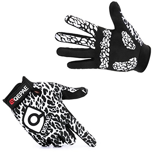 YYGIFT Breathable Full Finger Cycling Gloves Anti-Slip Auto Racing Gloves for Biking Running Sporting Weightlifting Hunting Training - White Large