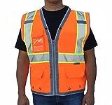 3C Products Men's Safety Surveyor Vest Medium Orange