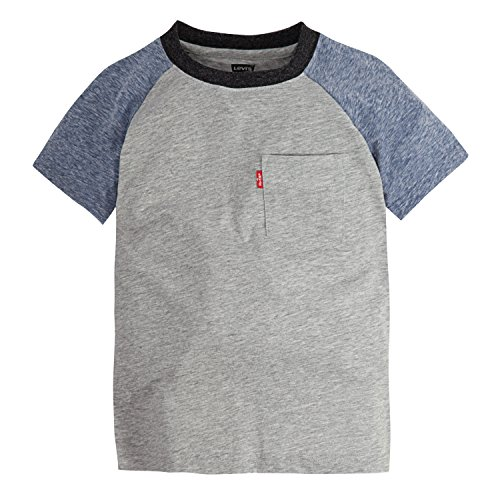 Levi's Toddler Boys' One Pocket T-Shirt, Grey Heather Snow Yarn Raglan, 4T ()