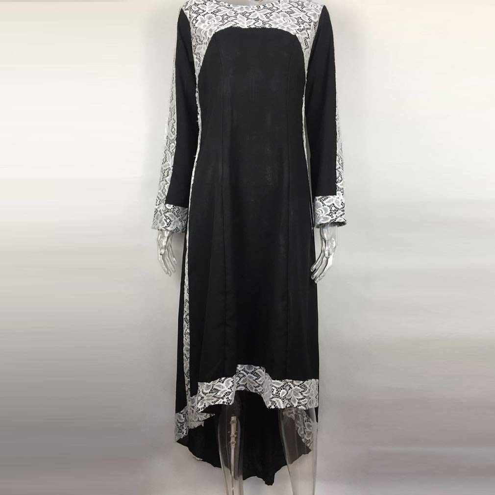 yunhou Women/'s Muslim Maxi Dresses Vintage Long Sleeve Embroidered Robes Summer Chiffon Zip Dress Suitable for Hajj