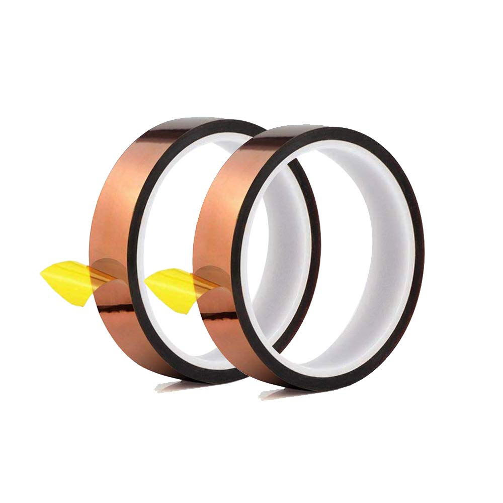 """High Temperature Heat Resistant Tape PI Film Insulation Tape Sublimation Dye Mug Electronic Polyimide Tape (F 6/8"""" Wide 20mm X 108 Ft 2 Roll)"""