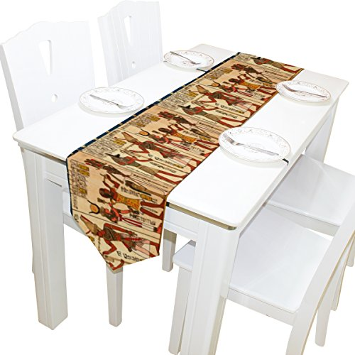 Naanle Egypt Long Table Runner 13x90 Inch, Egyptian Papyrus with Antique Hieroglyphs Polyester Table Cloth Runner for Kitchen Wedding Party Decoration