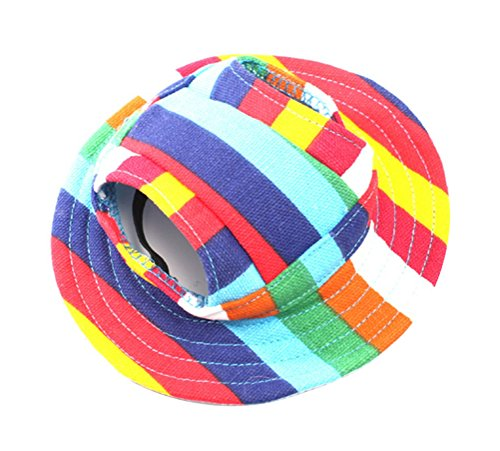 Freerun Round Brim Pet Cap Visor Hat Pet Dog Mesh Porous Cap with Ear Holes for Small Dogs - Strip, (Wholesale Halloween Costumes Coupon)