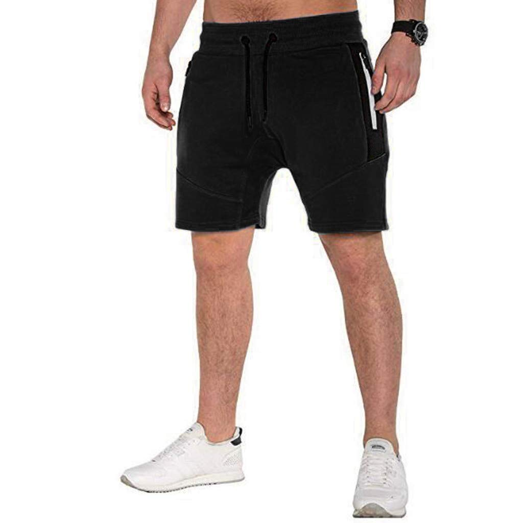 ANJUNIE Classic Fit Short Men's Pure Color Button-Pocket Cargo Flat Front Wind Trunks Pant(Black,XXL) by ANJUNIE