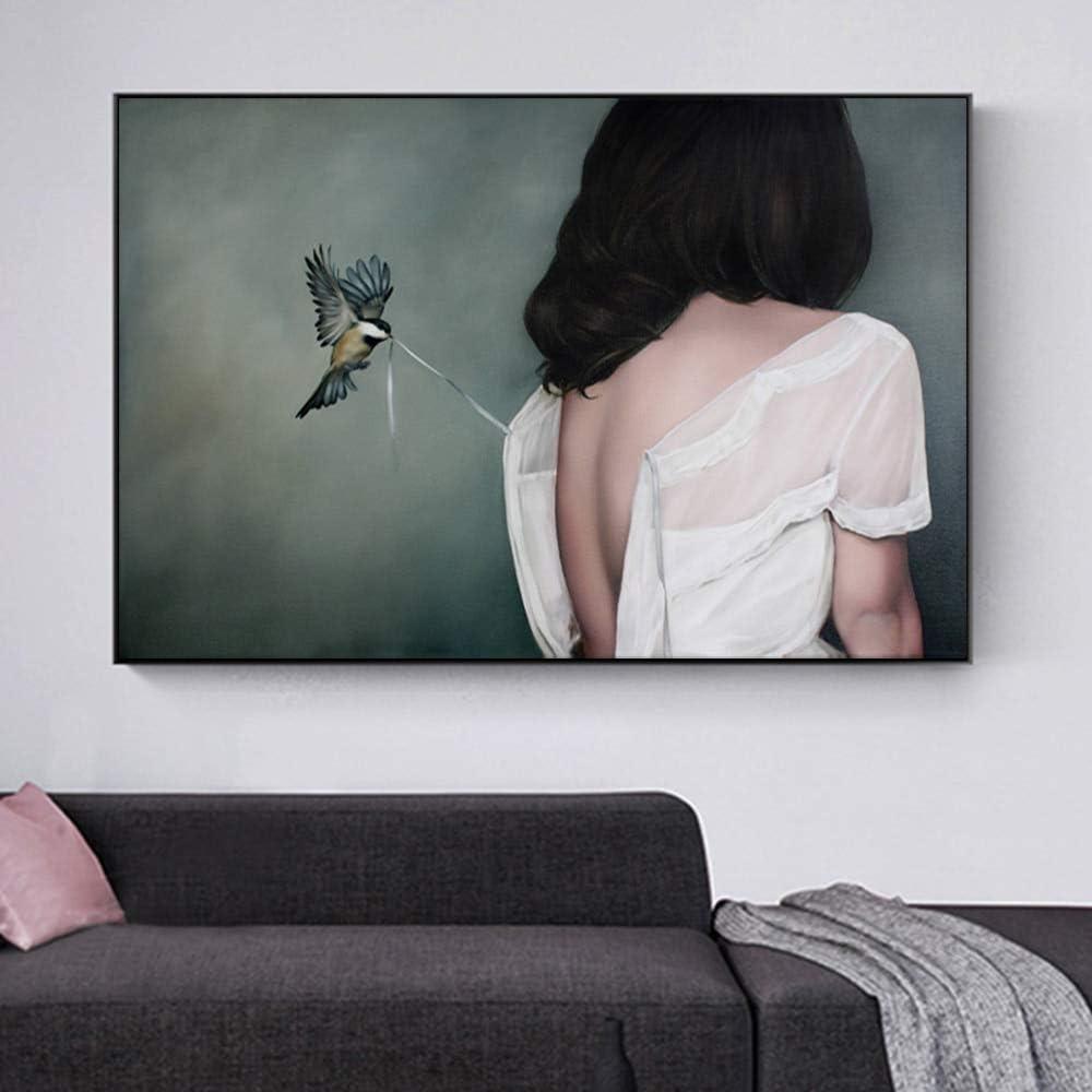 KWzEQ Imprimir en Lienzo Cartel de pájaro y niña y decoración del hogar de la Sala de estar30x45cmPintura sin Marco