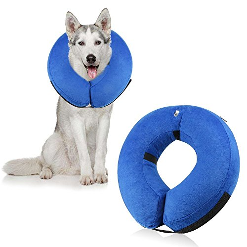ONSON Protective Inflatable Dogs Collar, Soft Pet Recovery E-Collar for Small Medium Large Dogs and Cats, Designed to Prevent Pets From Touching Stitches (Lager)