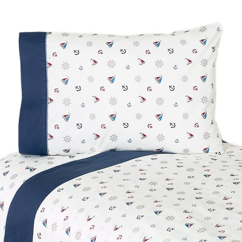 Sweet Jojo Designs 4-Piece Queen Sheet Set for Nautical Nights Sailboat Bedding Collection