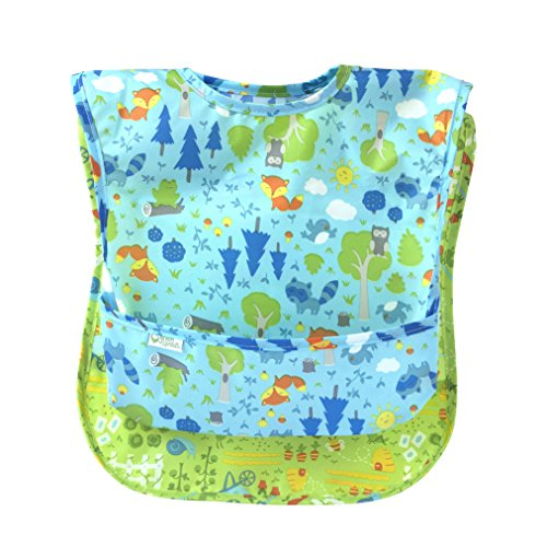 green sprouts Easy-Wear Toddler Bib (2 Pack) | Comfortable, Waterproof Protection for Messy Eaters | Flip-Pocket Easily Catches Stray Food, Wide-Coverage Protection, Adjustable Closure