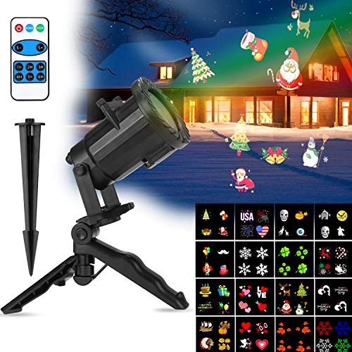 Christmas Projector Lights, CYbest LED Christmas Projector Light for Christmas, Halloween,New Years, Birthday, Party,16 Patterns Changeable Films, Waterproof for Indoor/Outdoor Use