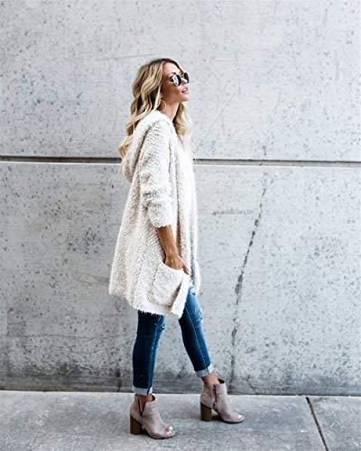 Larga Mujer Básicos De Capucha Otoño Casual Moda Swag Blanco Largos Ropa Chaqueta Streetwear Capa Caliente Outerwear Punto Delanteros Manga con Bolsillos Chaqueta FEq0xn7w