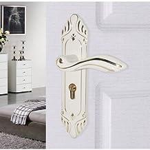 UHPPOTE Zinc Alloy Knob Handle Indoor Double Latch Entry Door Mortise Lock Set Lockset (White)