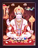 HandicraftStore Lord Hanuman giving blessings and Holding his weapon and Chanting Ram Ram, A Hindu Holy Religious Glitter Poster painting with frame for Hindu Religious and Gift purpose