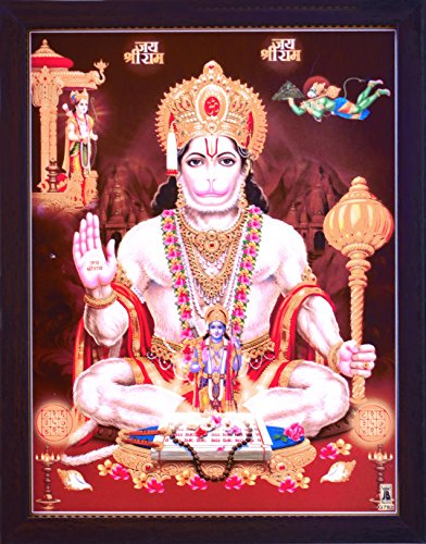 HandicraftStore Lord Hanuman giving blessings and Holding his weapon and Chanting Ram Ram, A Hindu Holy Religious Glitter Poster painting with frame for Hindu Religious and Gift purpose by HandicraftStore