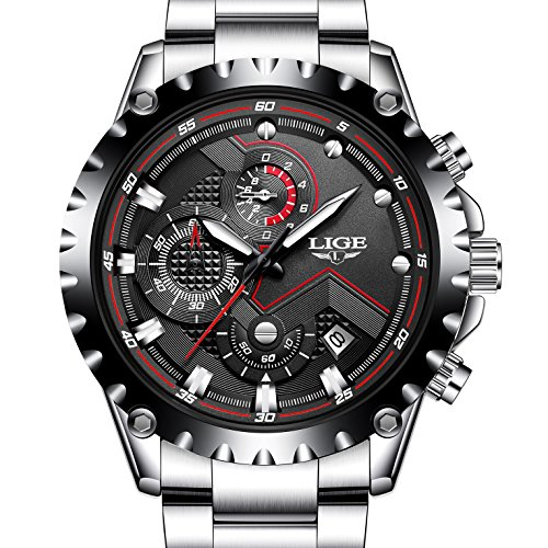 Mens Sport Fashion Chronograph Analog Quartz Wrist Watches Date Stainless Steel Band,Silver Black