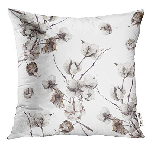 Emvency Throw Pillow Cover Watercolor Floral Vintage Bouquet of Twigs and Flowers Botanical White Decorative Pillow Case Home Decor Square 18x18 Inches Pillowcase