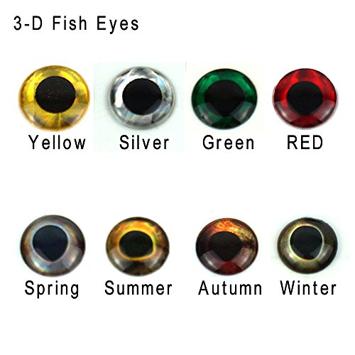 Aventik 360pcs Pack 8 Colors Choice Super Realistic 3-D Fish Eyes Holographic Fishing Lure Eyes, Fly Eyes, Fishing Lure Making, Fly Tying Materials, (Silver with 6 Sizes(360pcs/ Bag))