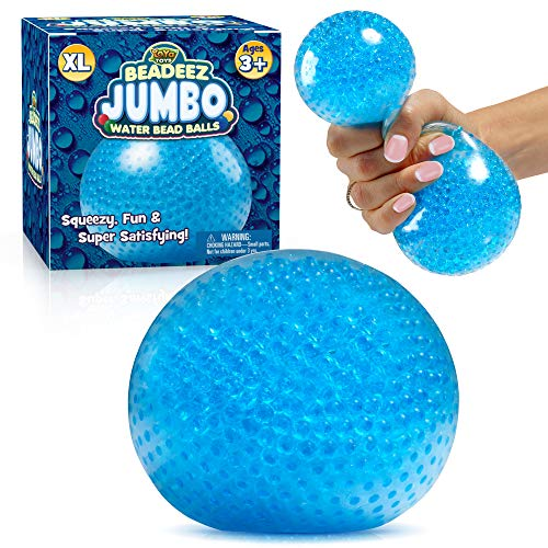 Beadeez Squishy Stress Ball with Gel Water Beads - Jumbo Size (Blue) - Anti-Stress ADHD Anxiety Relief Sensory Toy for Kids and Adults - Promote Calm Focus, Reduce Hand, Wrist Pain