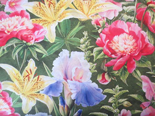 Northcott Morning Song Large Pictures of Garden Flowers On Green Cotton Fabric DP22749-76