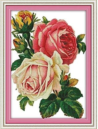 2020 Nuevo Amor Eterno Helechos Y Rosas Kits De Punto De Cruz Chinos De Algodón Ecológico Despejar La Decoración De Navidad DIY 14CT Impreso Estampado