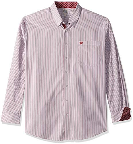 Mens Shirt Stripe Classic (Cinch Men's Classic Fit Long Sleeve Button One Open Pocket Stripe Shirt, White/Burgundy, L)